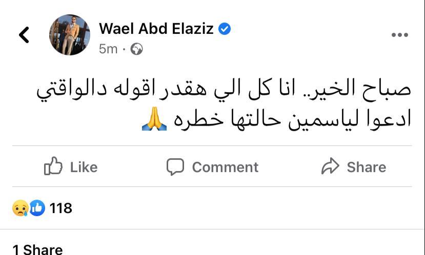 حالتها خطرة .. شقيق ياسمين عبد العزيز يكشف تطورات حالتها الصحية